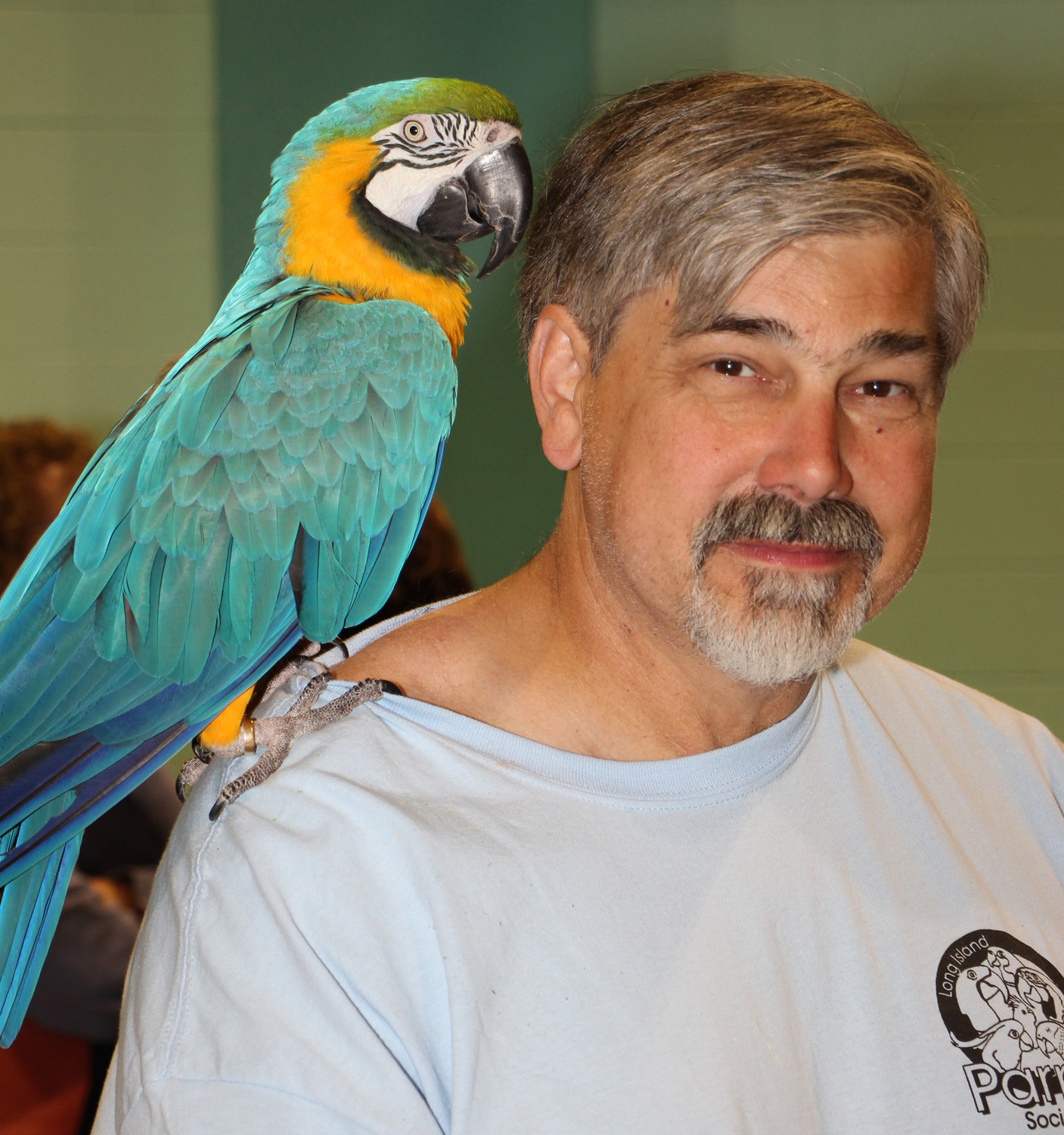 Lee Lambertson with a zircon blue and gold macaw parrot.
