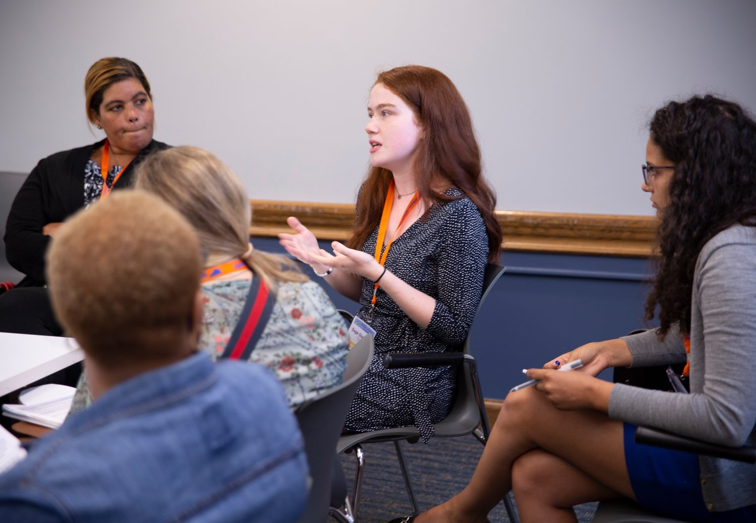 Sage Gladstone, 15, Syosset High School sophomore, center, discussed Culturally Responsive-Sustaining Education with educators at the Reimaging Education Conference at Teachers College, Columbia University on July 18.