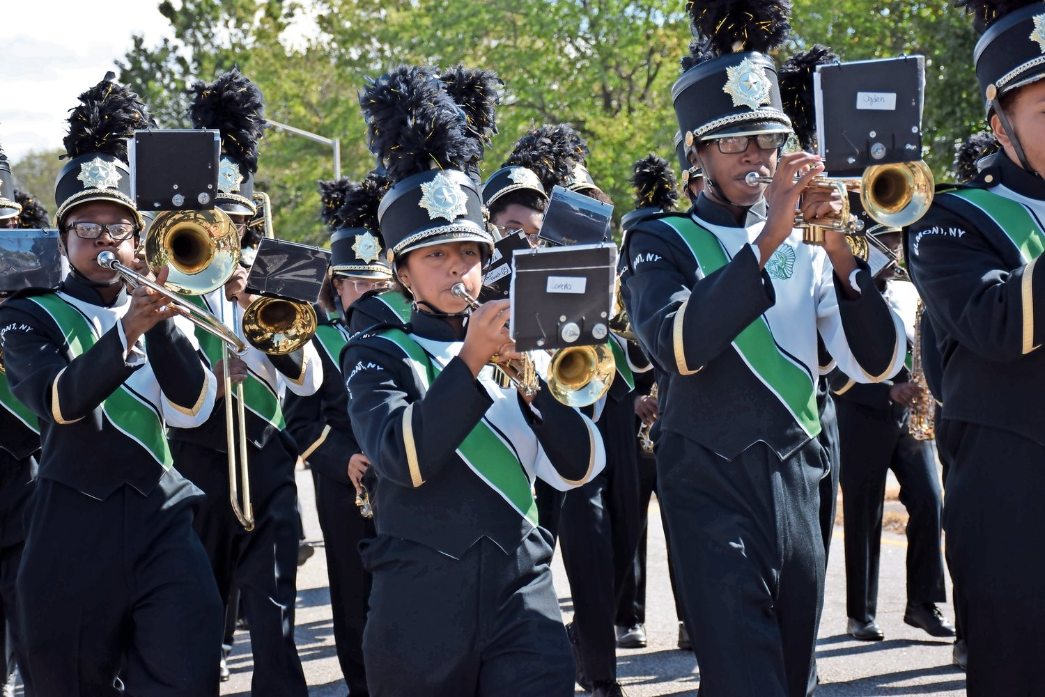 The marching band performed prior to Elmont Memorial High School's Homecoming game on Oct. 12.