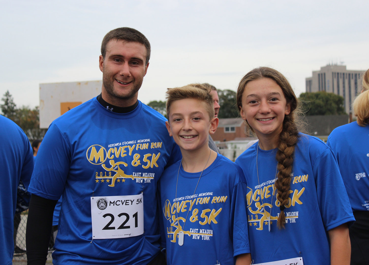 Alex Miller, a fifth-grade teacher at McVey Elementary School, met some familiar faces at the finish line, including his former student Antonio Ribeiro, now a sixth-grader at Woodland Middle School, and his sister, Victoria, a freshman at East Meadow High.
