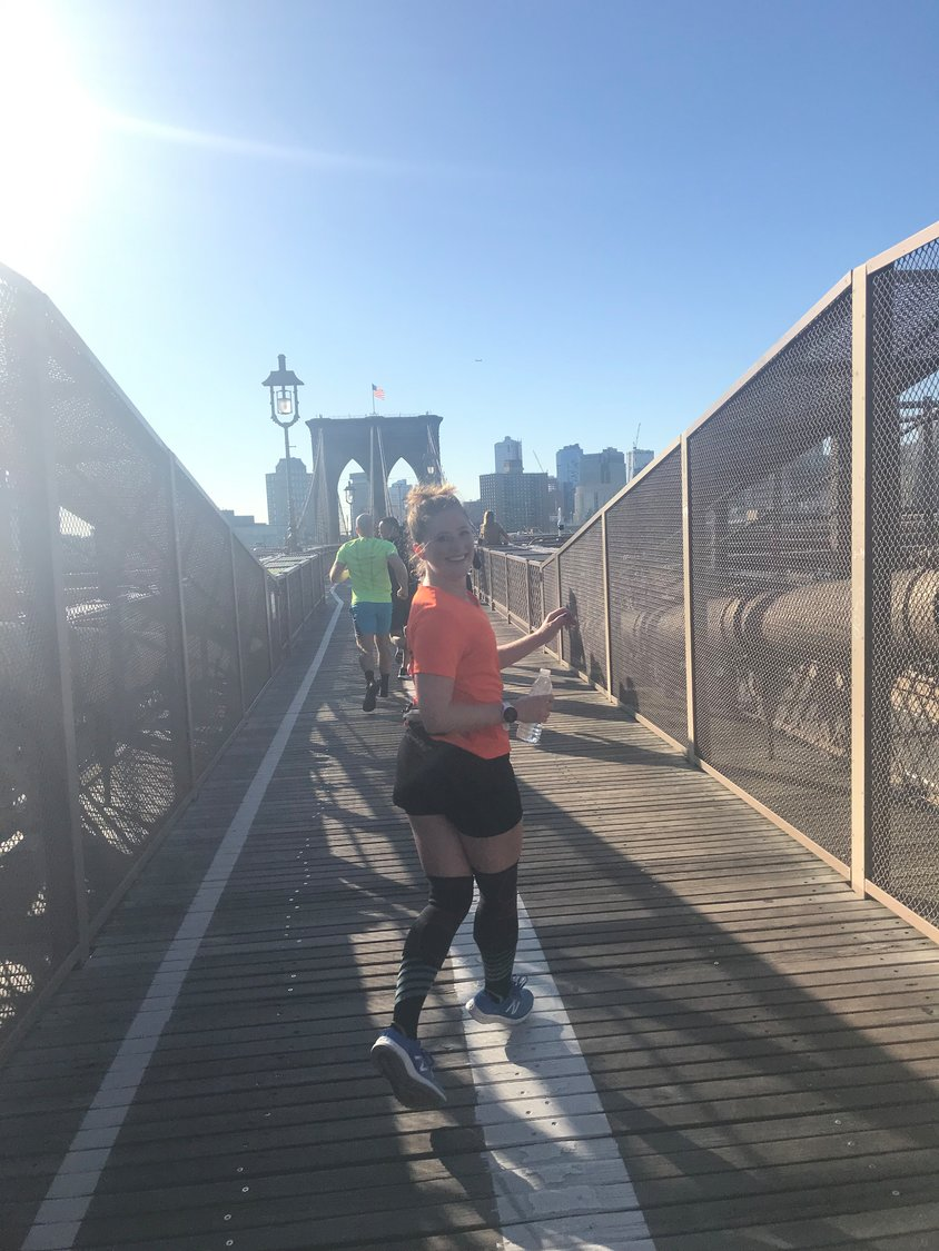Zick recently trained for the New York City Marathon on the Brooklyn Bridge.