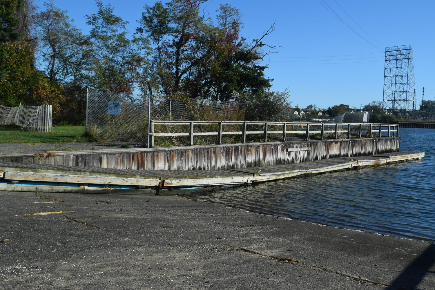 The dilapidated floating dock at Inwood Park's boat launch that is planned to be replaced as part of a $2.7 million project that is expected to begin in January.