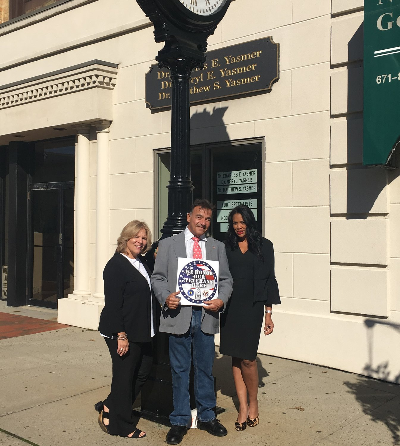 "From left, Lou-Ann Thompson, Tony Jimenez and Patricia Thompson worked together to launch the ""We Honor Our Veterans"" program in Glen Cove."