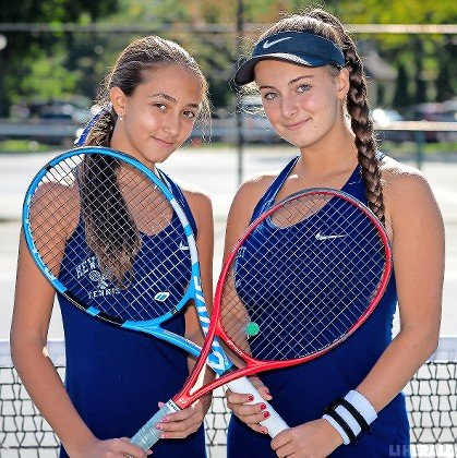 Eighth-grader Nyla Gershfeld, left, teamed with junior Rachel Arbitman to capture the Nassau County doubles crown.