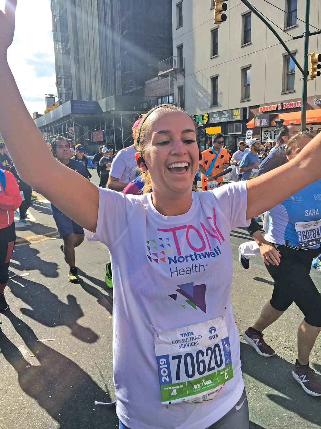 Tonya finished in 5 hours, 23 minutes, and raised $3,000 for Northwell Health, where one of her cheerleaders was treated for cancer.