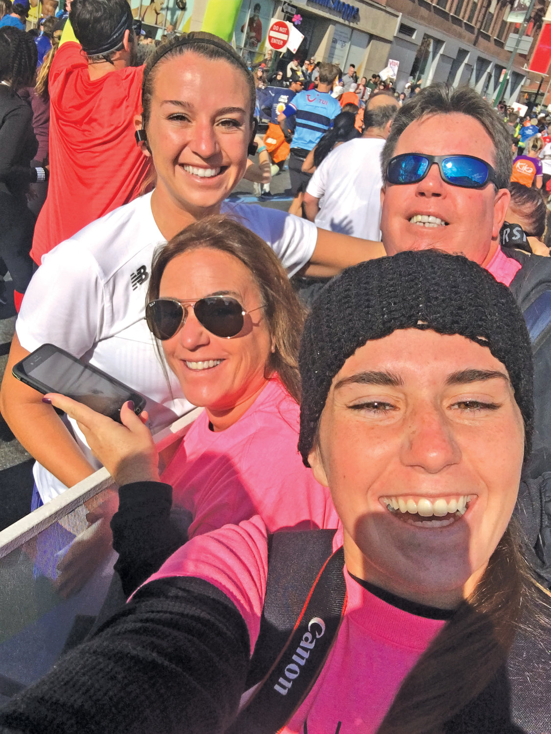 Tonya Bettineschi's sister Kira, bottom right, took a selfie with Tonya, top left, and their parents, Audrea and Joseph, during the New York City Marathon on Sunday.