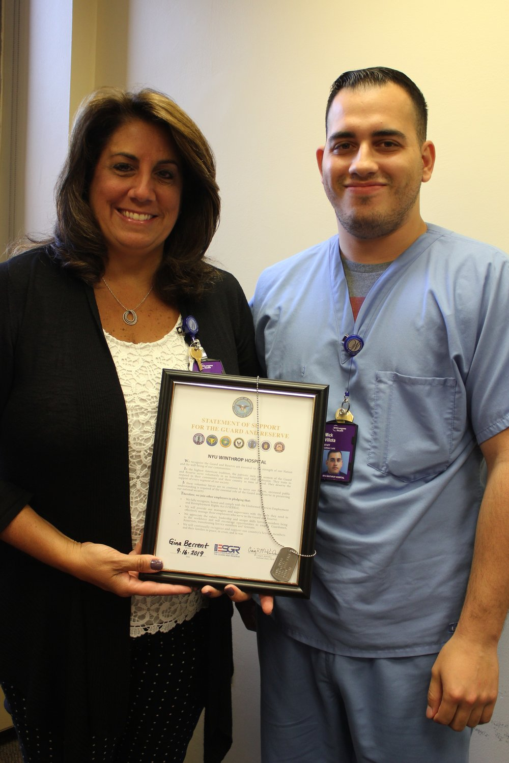 "West Hempstead resident Mick Villota, Cath Lab Unit Support Associate at NYU Winthrop Hospital, surprised his colleague, Gina Berrent, by nominating her for a one-day ""boss lift"" to the New York National Guard's Camp Smith Training Site in Peekskill, N.Y."