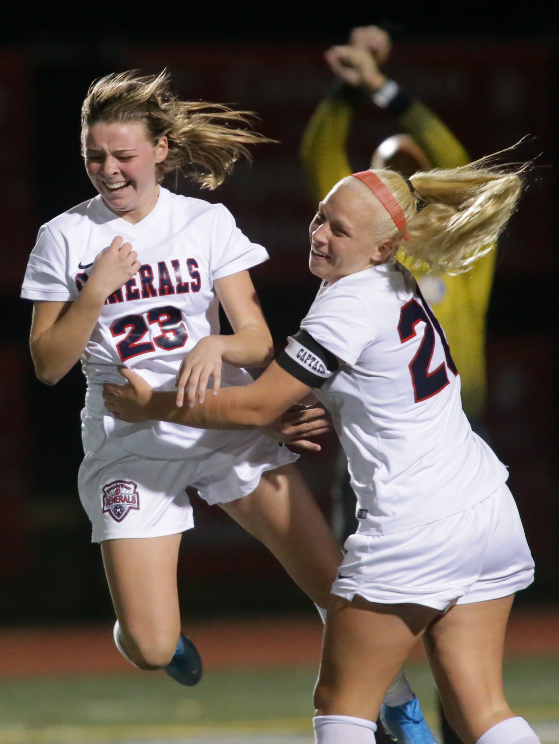 MacArthur's Hailey Hnis, left, celebrated with Alyssa Accordino after scoring the opening goal of the Lady Generals' 3-0 win over Mepham in the Nassau Class A final.