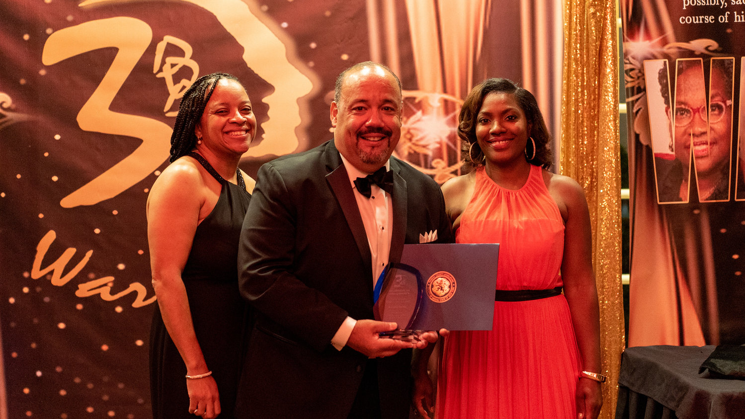 Deputy Town of Hempstead Comptroller Richard Ramos was flanked by 3D's Aftercare Inc. founder and executive director Dr. Zodelia Williams, left, and Dr. Audrey Kirkland, president of 3D's, at 3D's Unsung Warriors Gala at Coral House in Baldwin on Oct. 24.
