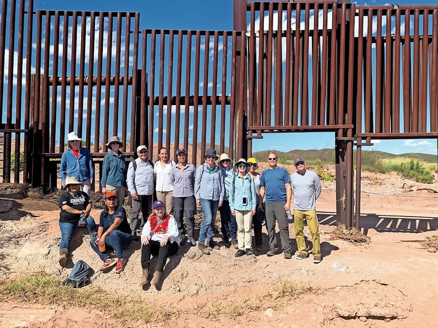 the Rev. Moira Ahearne of Merrick's Community Presbyterian Church, sitting, third from left, toured the border wall in Mexico's Sonoran Desert with a delegation from the Fifth Avenue Presbyterian Church in Manhattan from Oct. 12-19.