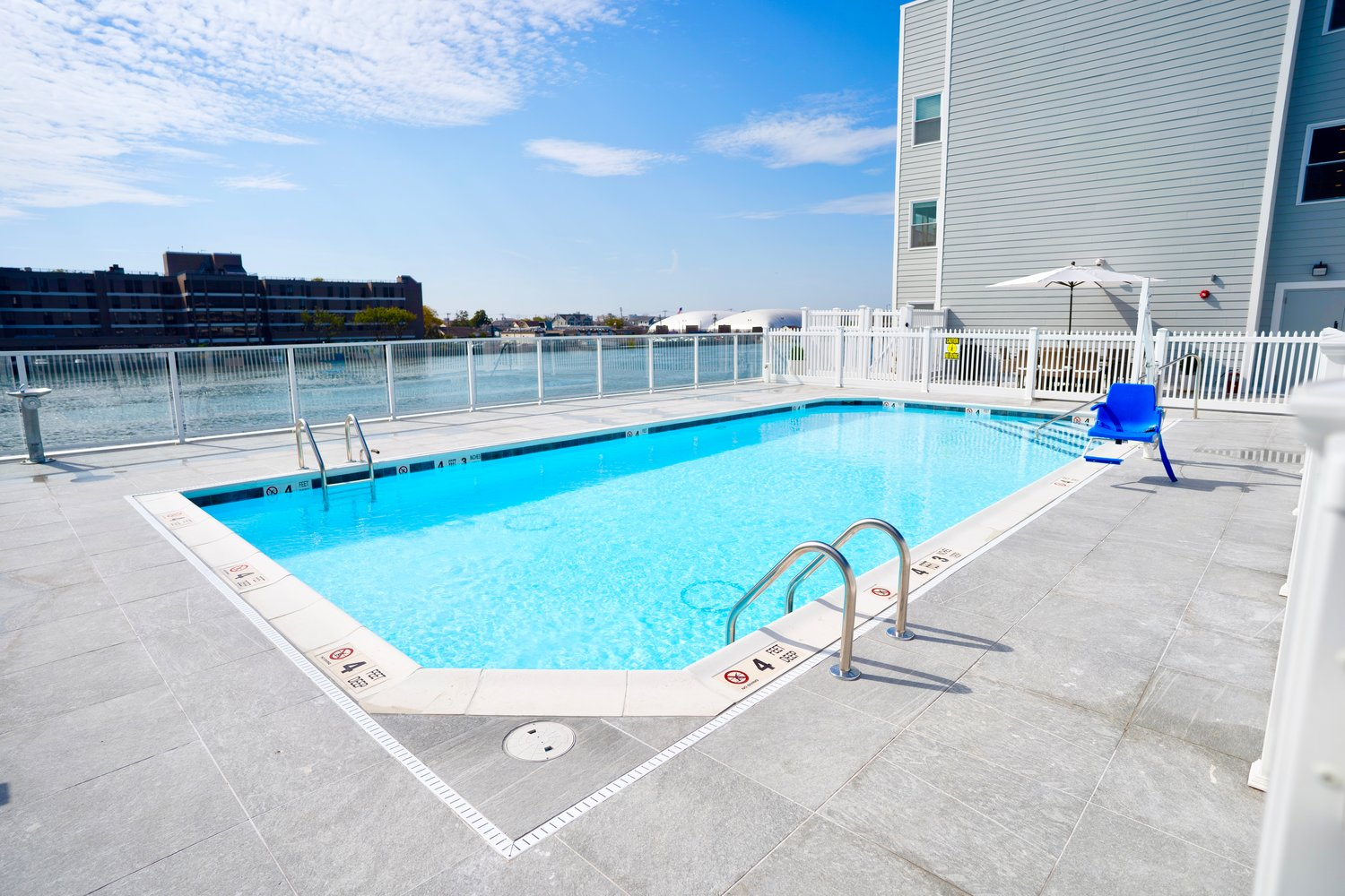 One of the amenities at the complex is a pool deck between both towers.