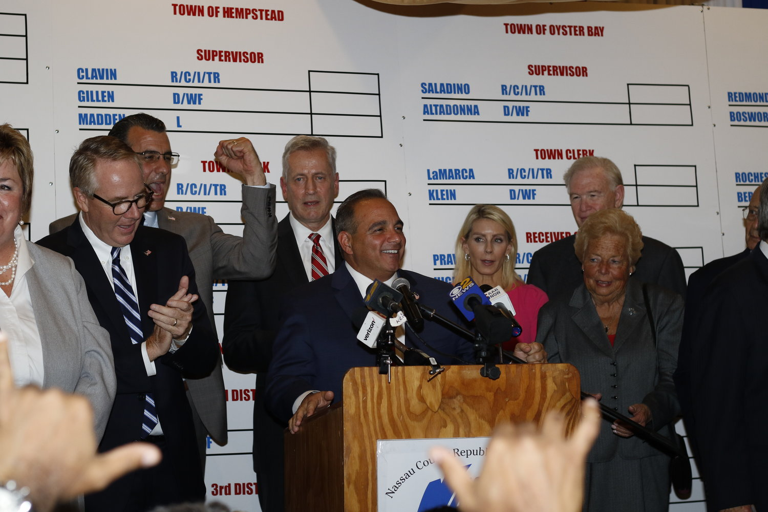 Councilman Steve Labriola, center, celebrated winning a second term on the board.