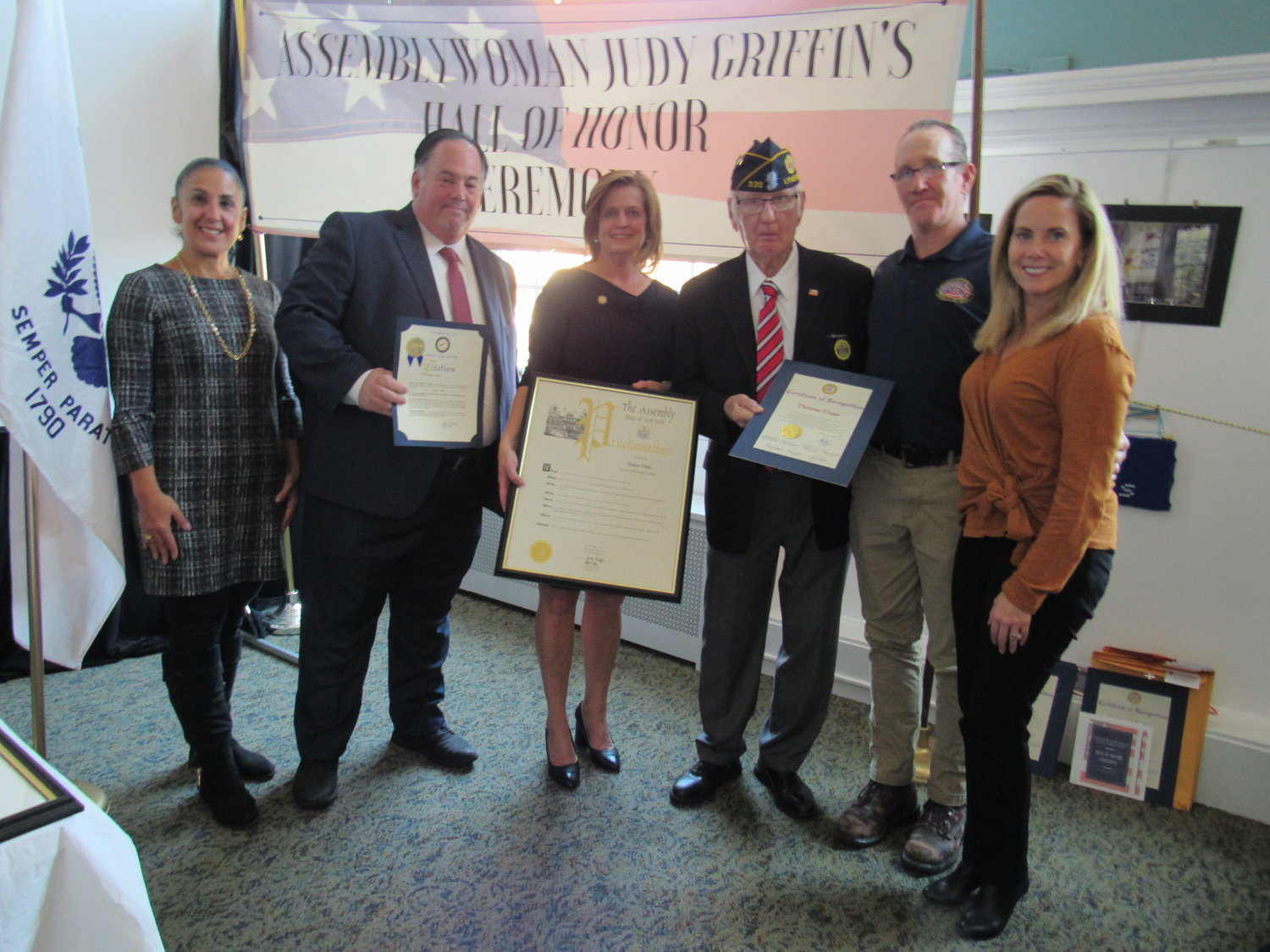 Tom Finan, of American Legion Post 335 in Lynbrook, third from right, was recognized by, from left, Cabana, Hawxhurst, Griffin and Gillen.