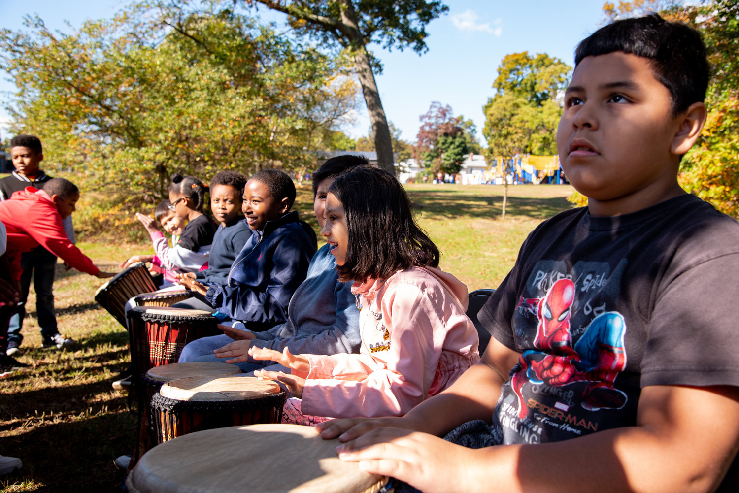 "Students took part in a Djembe drumming lesson during ""A Day in Nature for Mental Health."""