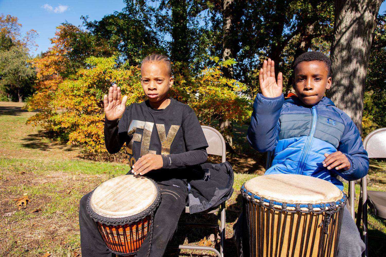 Some students tried their hand at traditional West African drumming.