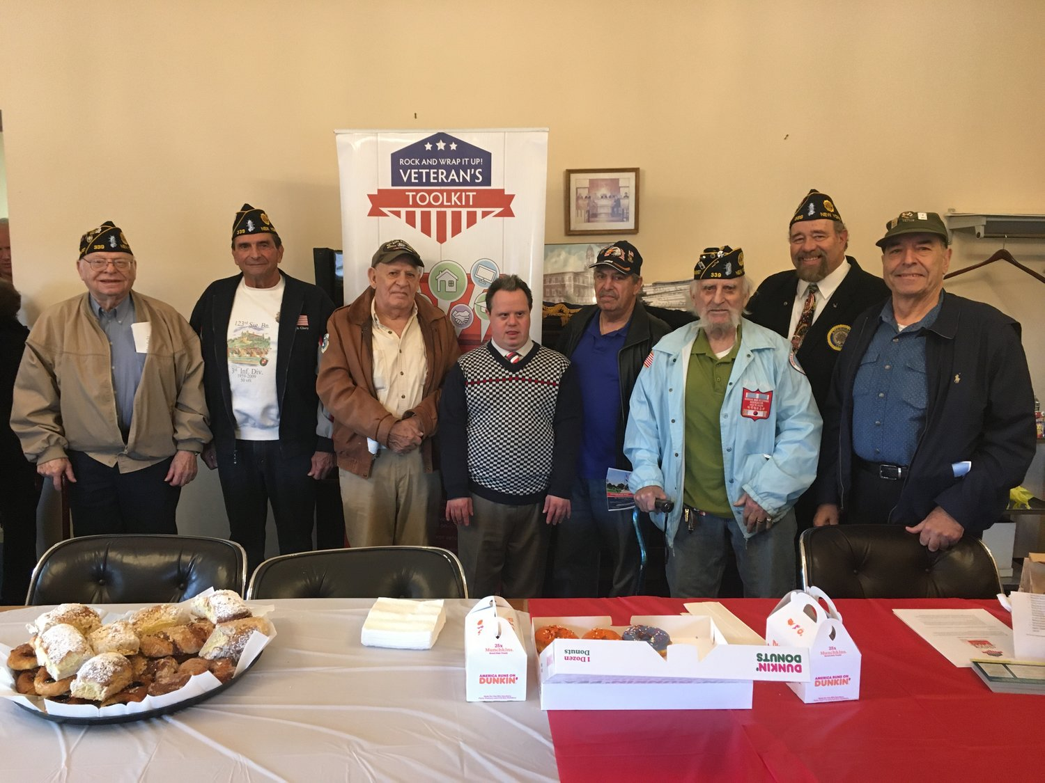American Legion Lawrence-Cedarhurst Post 339 members at the Village of Cedarhurst's Veterans Day celebration on Nov. 11. From left, Harry Sidor, Frank Basile, Vincent Speziale, Harry Beltrani Jr., Mitch Danzeyger, Jack Leff, Post 339 commander Syd Mandelbaum and Ernie Weiss.