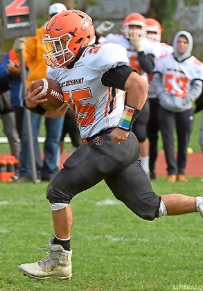 Senior Caleb Alvarez had one of East Rockaway's three touchdowns in last Saturday's hard-fought playoff loss at Locust Valley.