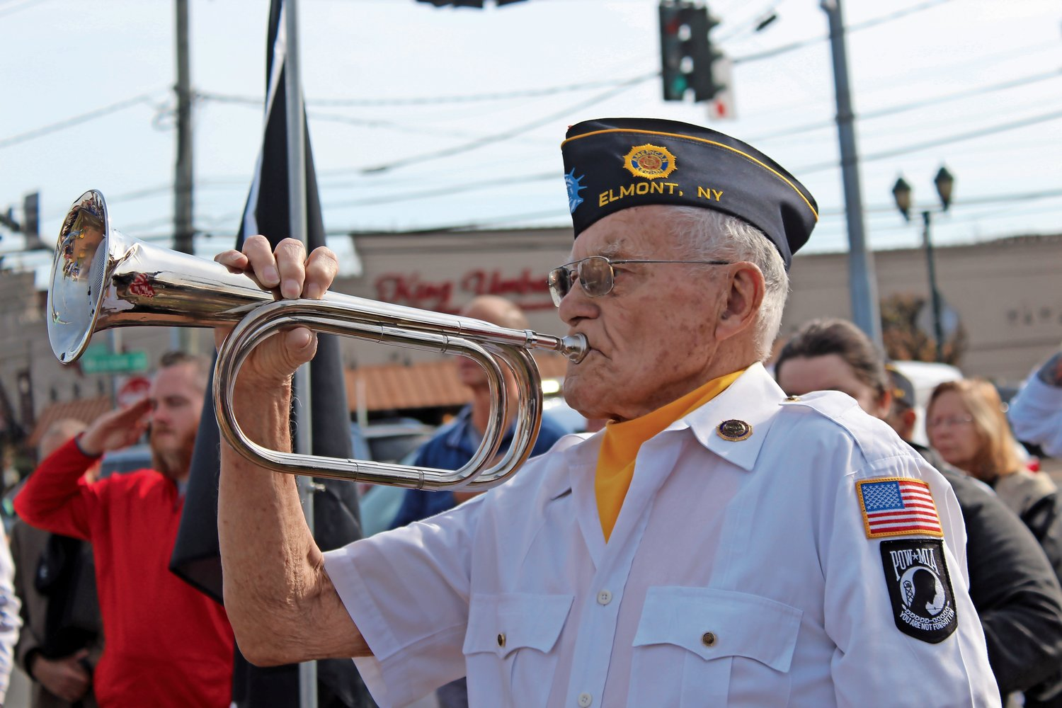 George Dee played the bugle at American Legion Post 1033's annual Veterans Day ceremony on Nov. 11 at 11 a.m.