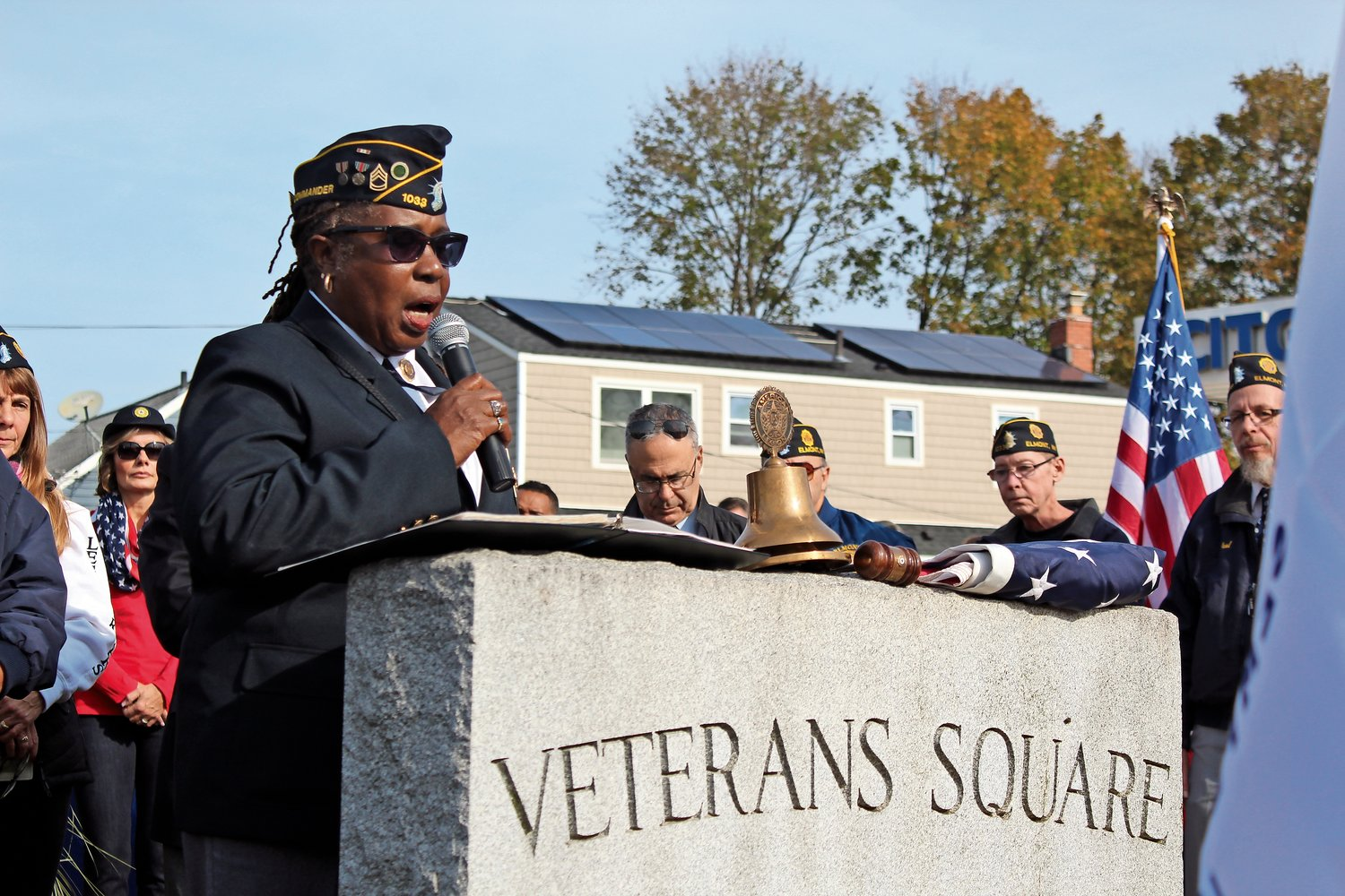 American Legion Commander Lecia Rodriques-Whyte led the Veterans Day ceremony in Elmont on Monday.