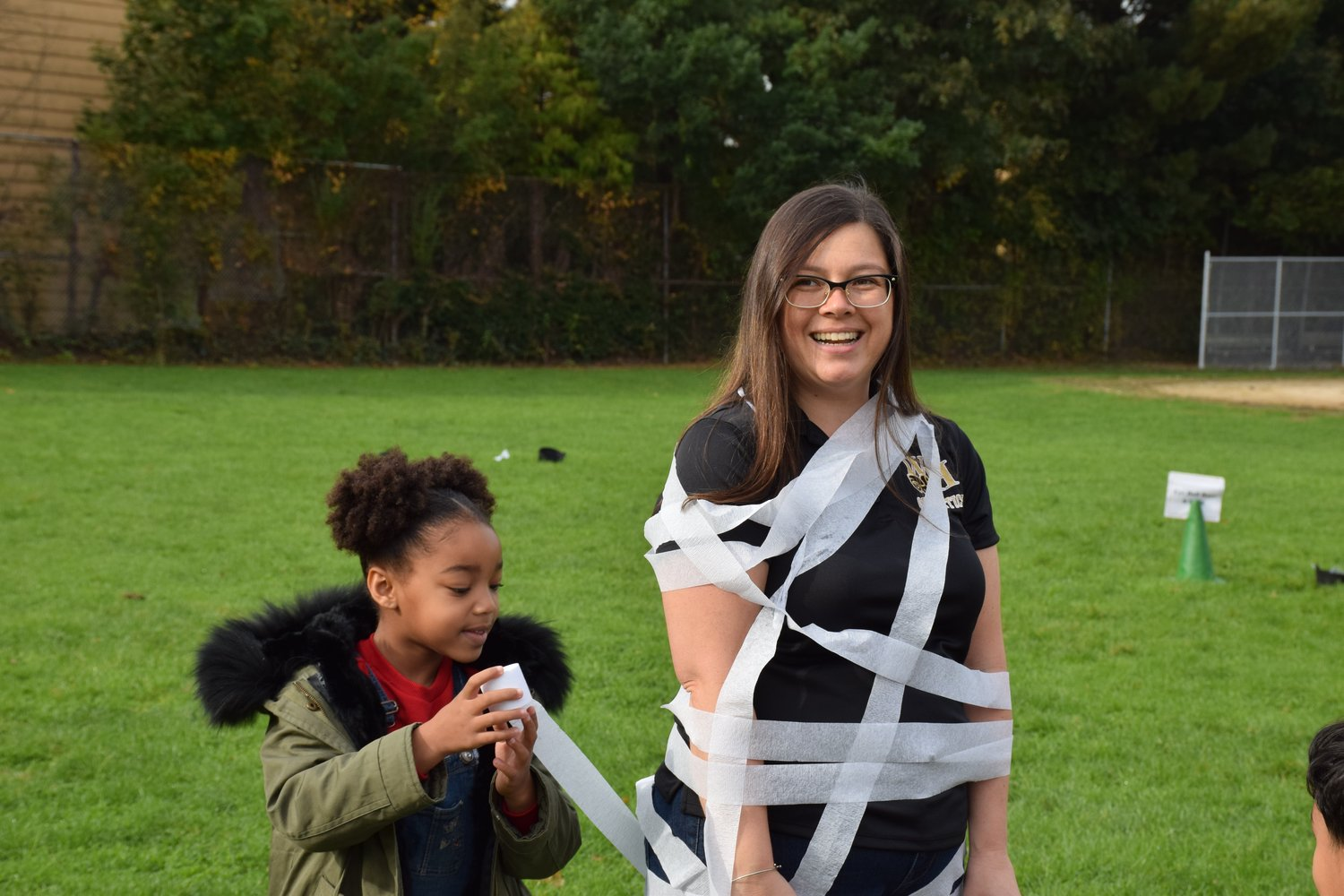 Principal Faith Tripp's students mummy-wrapped her.