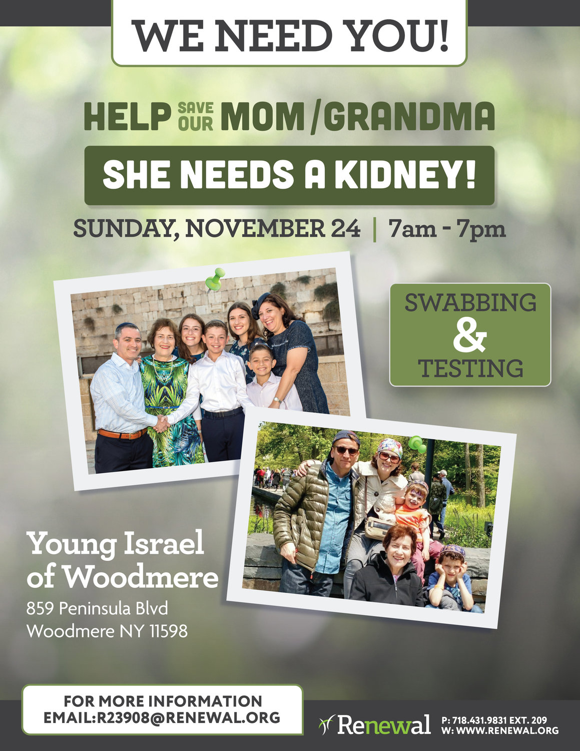 Woodmere resident Jason Goldfarb organized a Nov. 24 event in partnership with Renewal: Kidney Transplants to have people tested in hopes of expediting the process of finding a donor for his mother, Estelle.