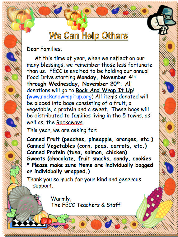 The Franklin Early Childhood Center food drive runs until Nov. 20 and all items will be donated to Cedarhurst-based Rock and Wrap It Up!