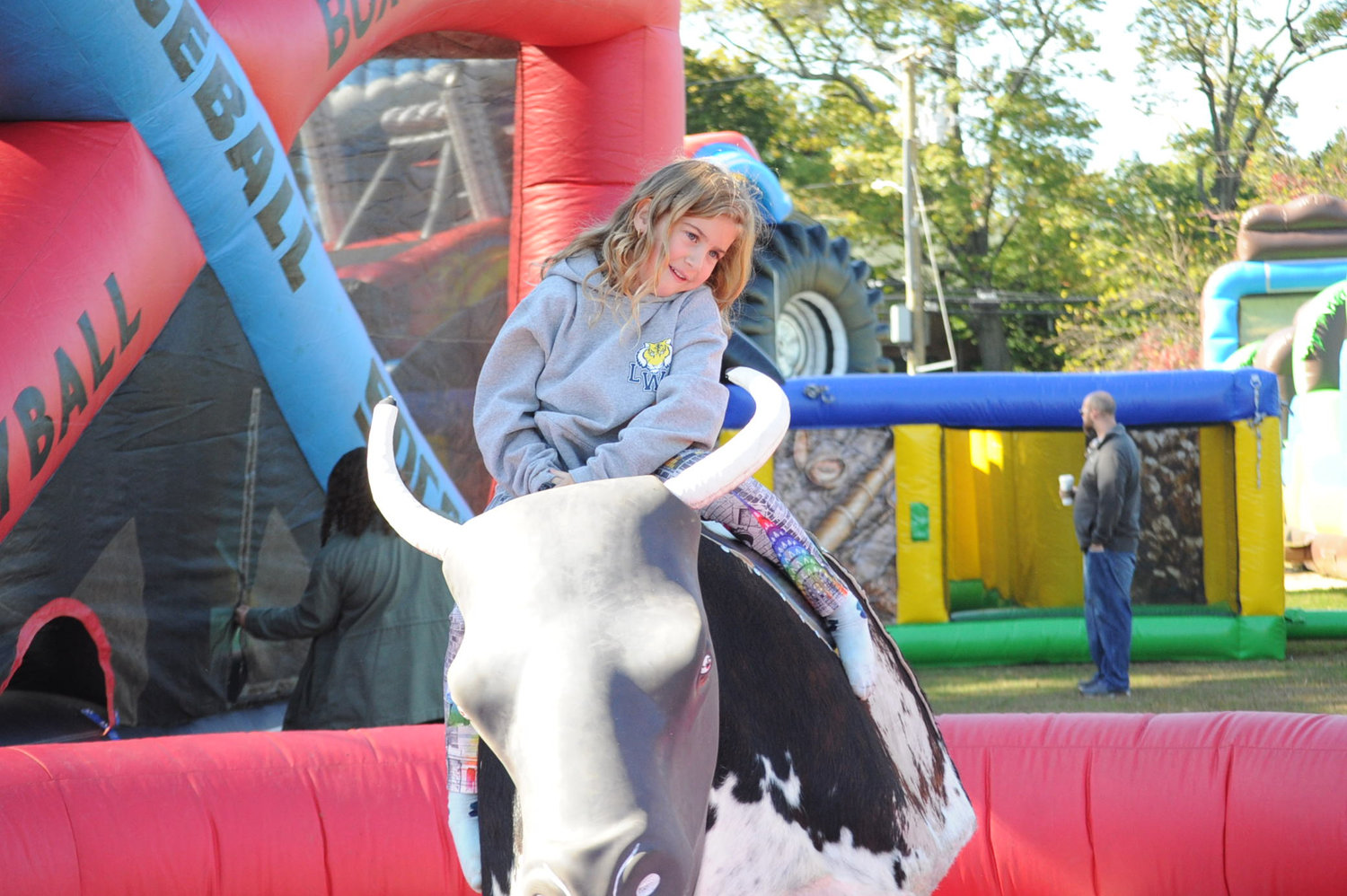 Miranda Feder-Grey did her best Lane Frost impersonation as she rode the mechanical bull.