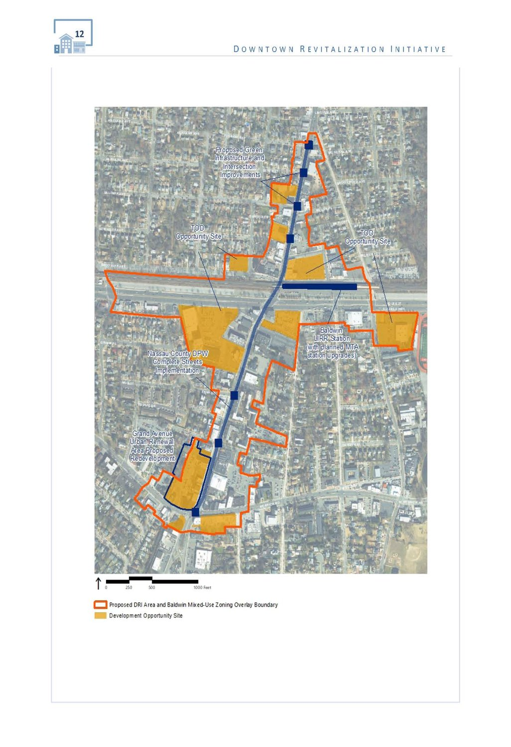 Planners said the boundary of the Downtown Revitalization Initiative runs along Grand Avenue, from Merrick Road to Stowe Avenue.