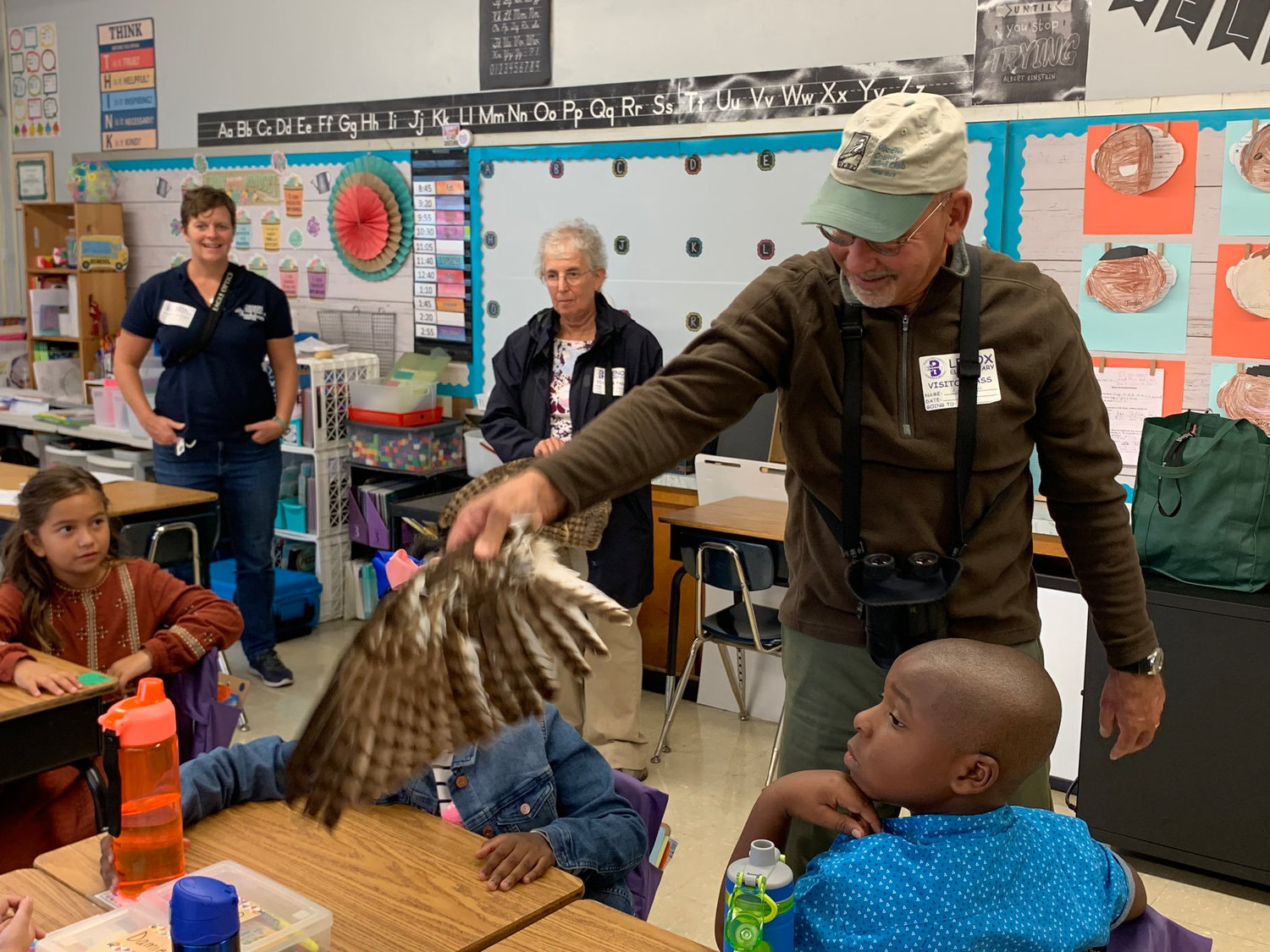 "The students learned about bird markings as part of the ""For the Birds"" program."