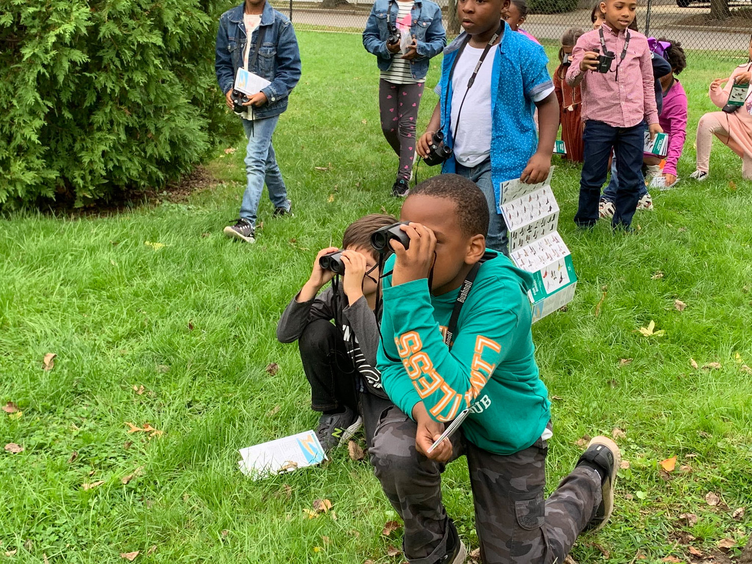 One lesson involved the use of binoculars for a bird-watching session in the schoolyard.