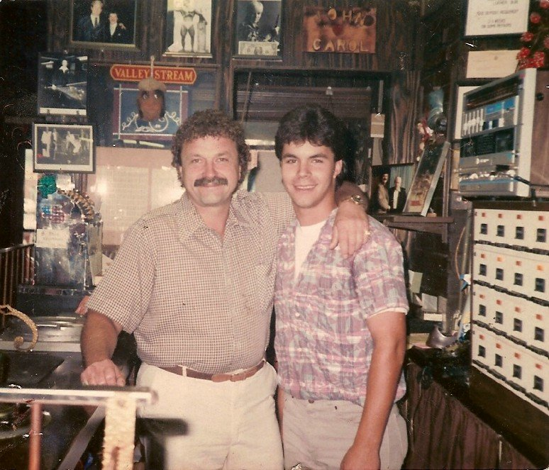 John Misak with his son, John, in 1987. The younger John took over the day-to-day operations of Guys and Dolls in 1998.