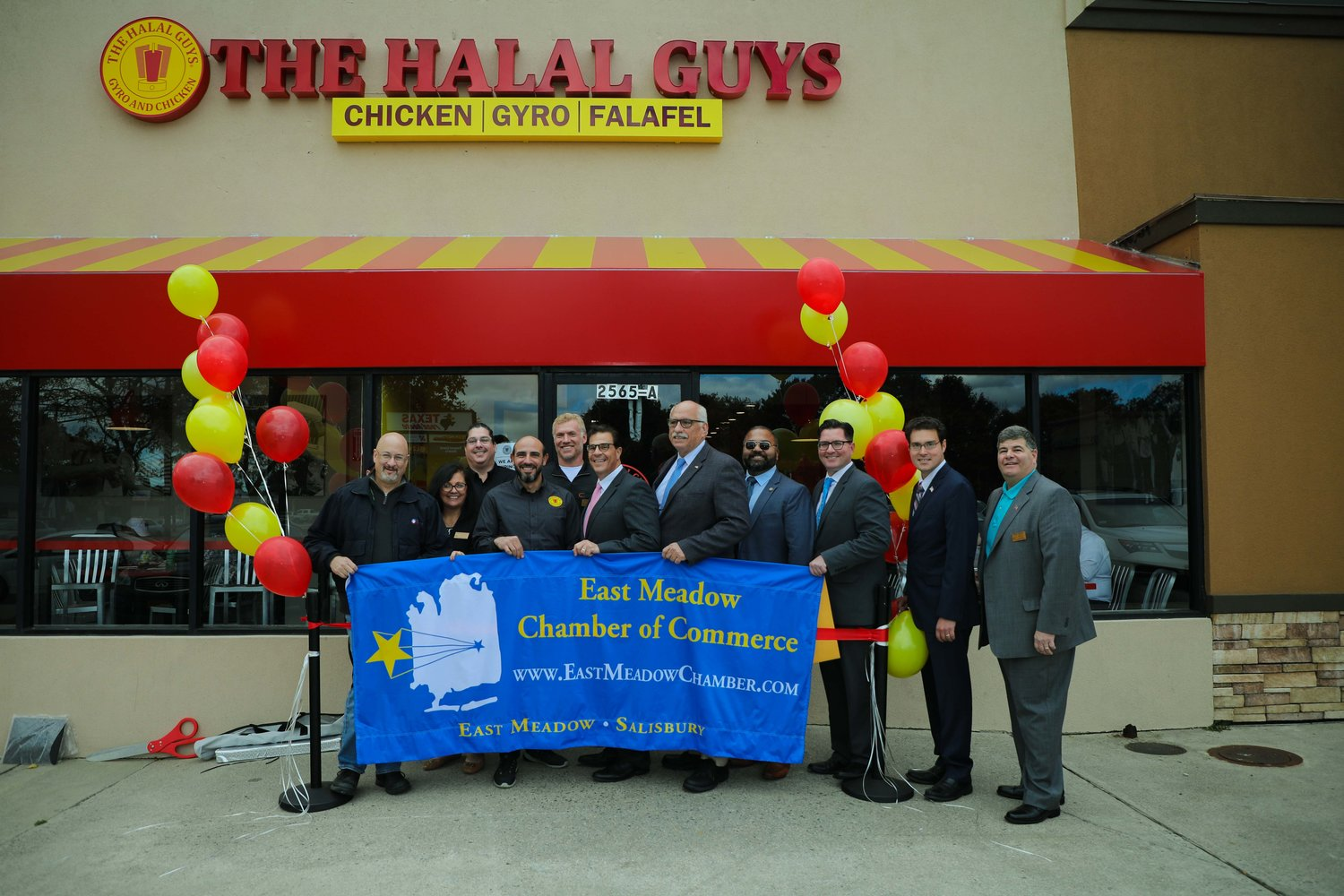 The East Meadow Chamber of Commerce welcomed Nassau County's first The Halal Guys, which recently opened at 2565 Hempstead Tpke.