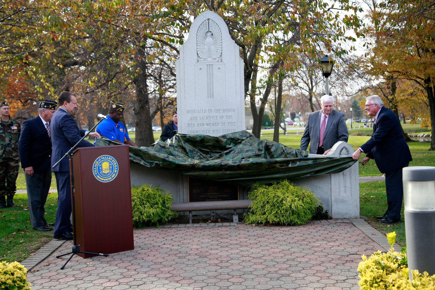 Village officials unveiled on Nov. 11 Valley Stream native Army First Lt. Robert Mason's name, which was recently affixed to the Valley Stream's Memorial Monument for Veterans Day ceremony. Mason was killed in the Vietnam War.