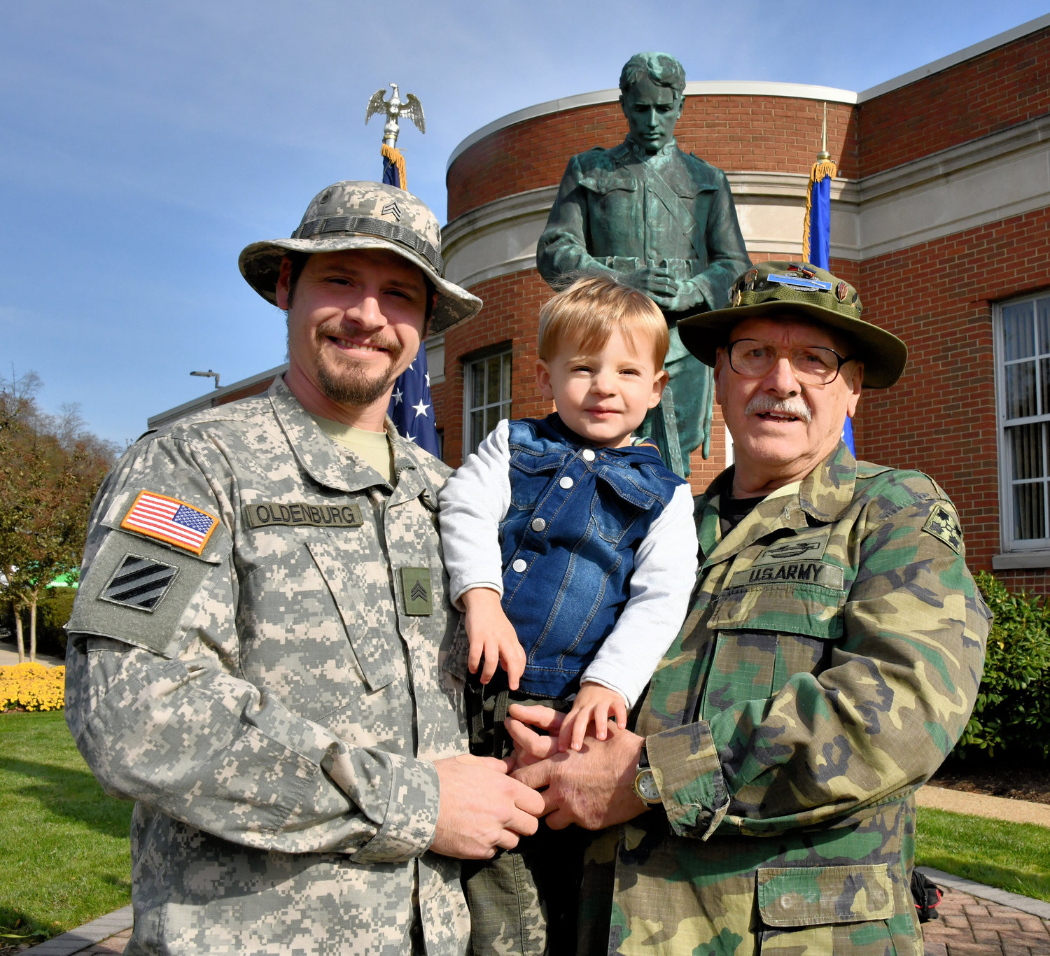 Honoree Ronald Oldenburg, right, who fought in Vietnam, celebrated Veterans Day with his son Ron Jr. and grandson Stone Oldenburg.
