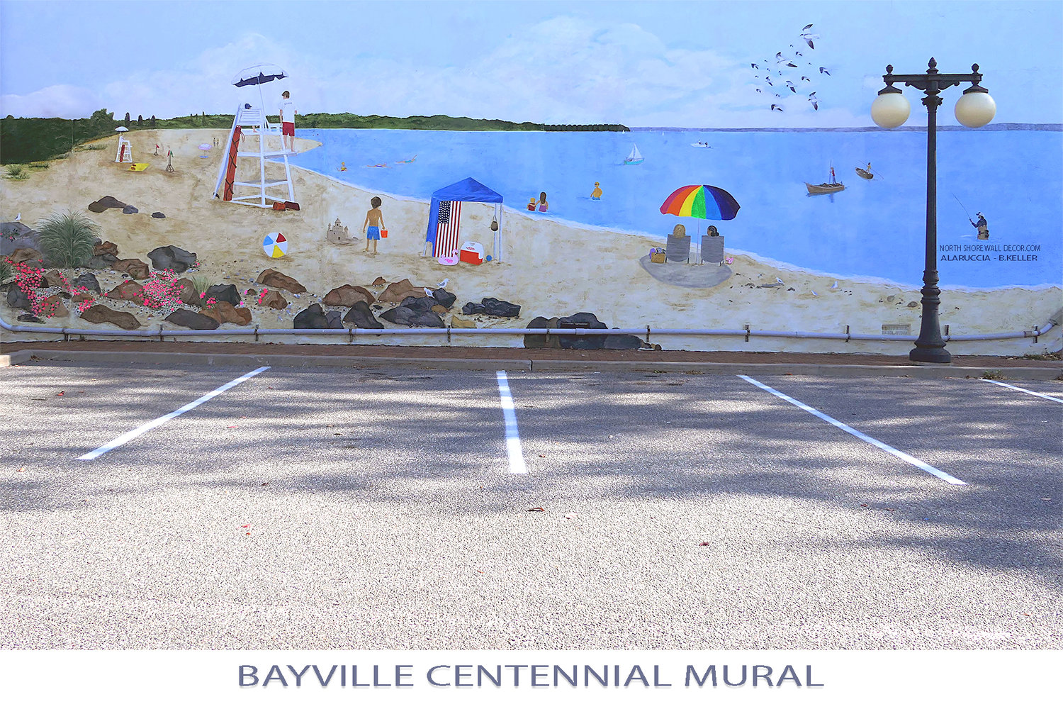 The Bayville Centennial Mural, created mostly by Anna Laruccia and Barbara Wendt, is in the village commons.