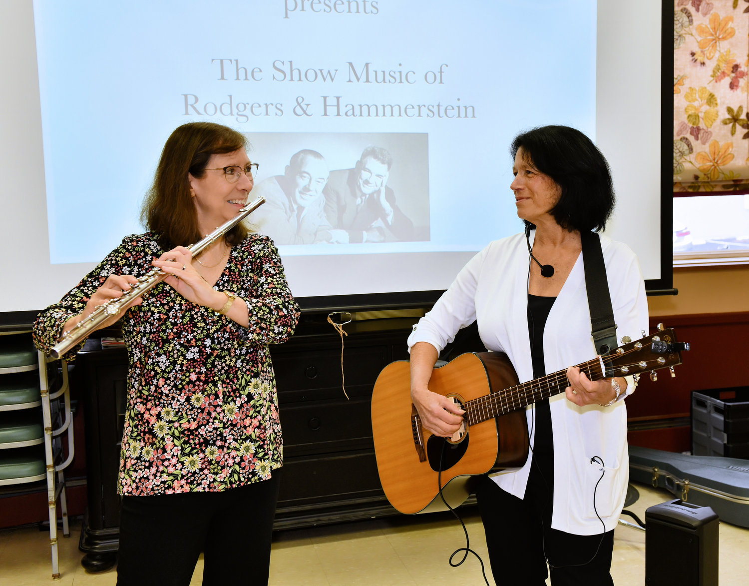 Helen Kotzky, left, and Diane Menzel, The Sunshine Music Duo, performed at the Glen Cove Senior Center on Oct. 30.