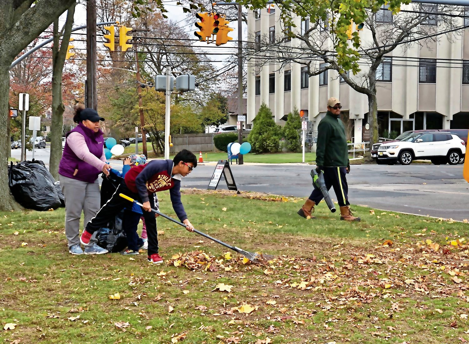 Leaves were raked and collected in trash bags for the South Merrick Community Civic Association Youth Club's first group outing.