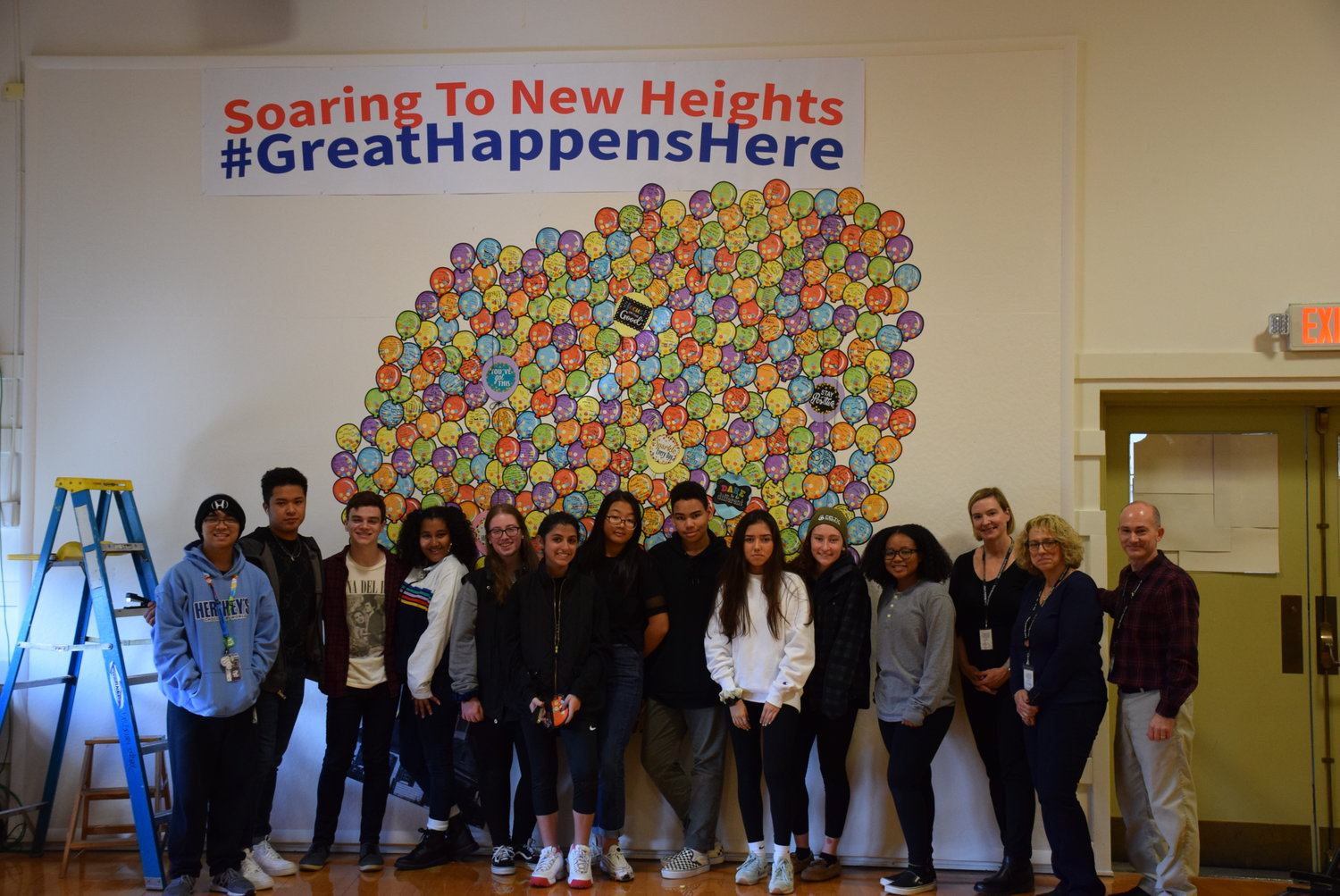 "High school students in the East Meadow School District created a ""Soaring to New Heights"" mural, which will be displayed until late spring 2020."