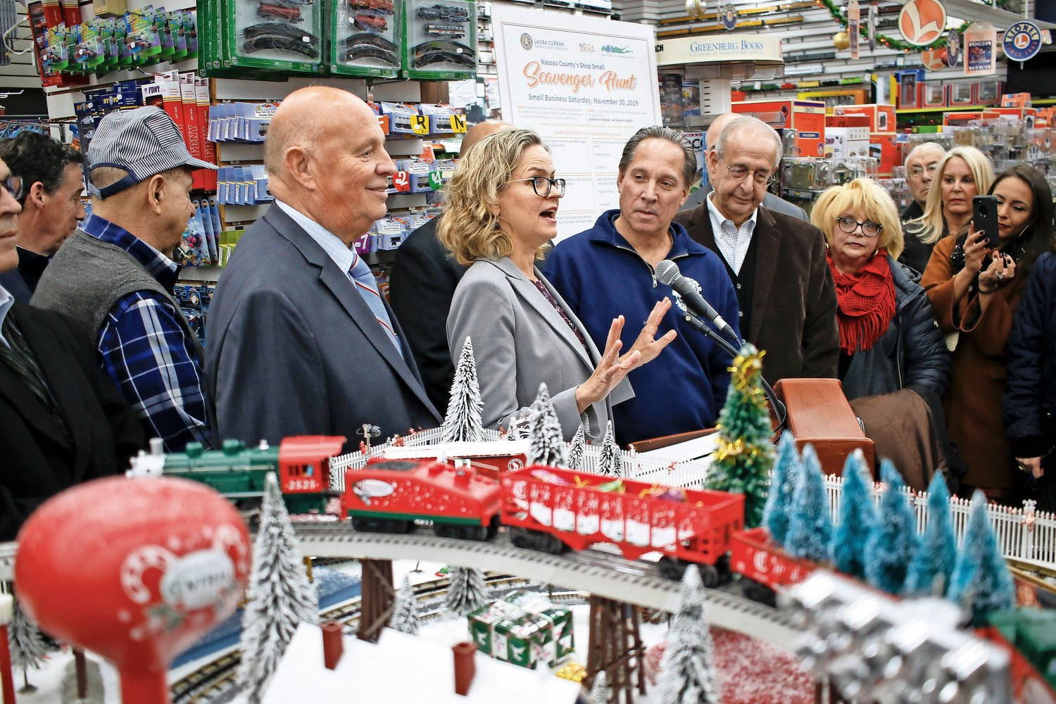 Nassau County Executive Laura Curran announced on Nov. 25 at TrainLand in Lynbrook, a Shop Local Saturday Scavenger Hunt. The first four people to complete the hunt will win prizes.