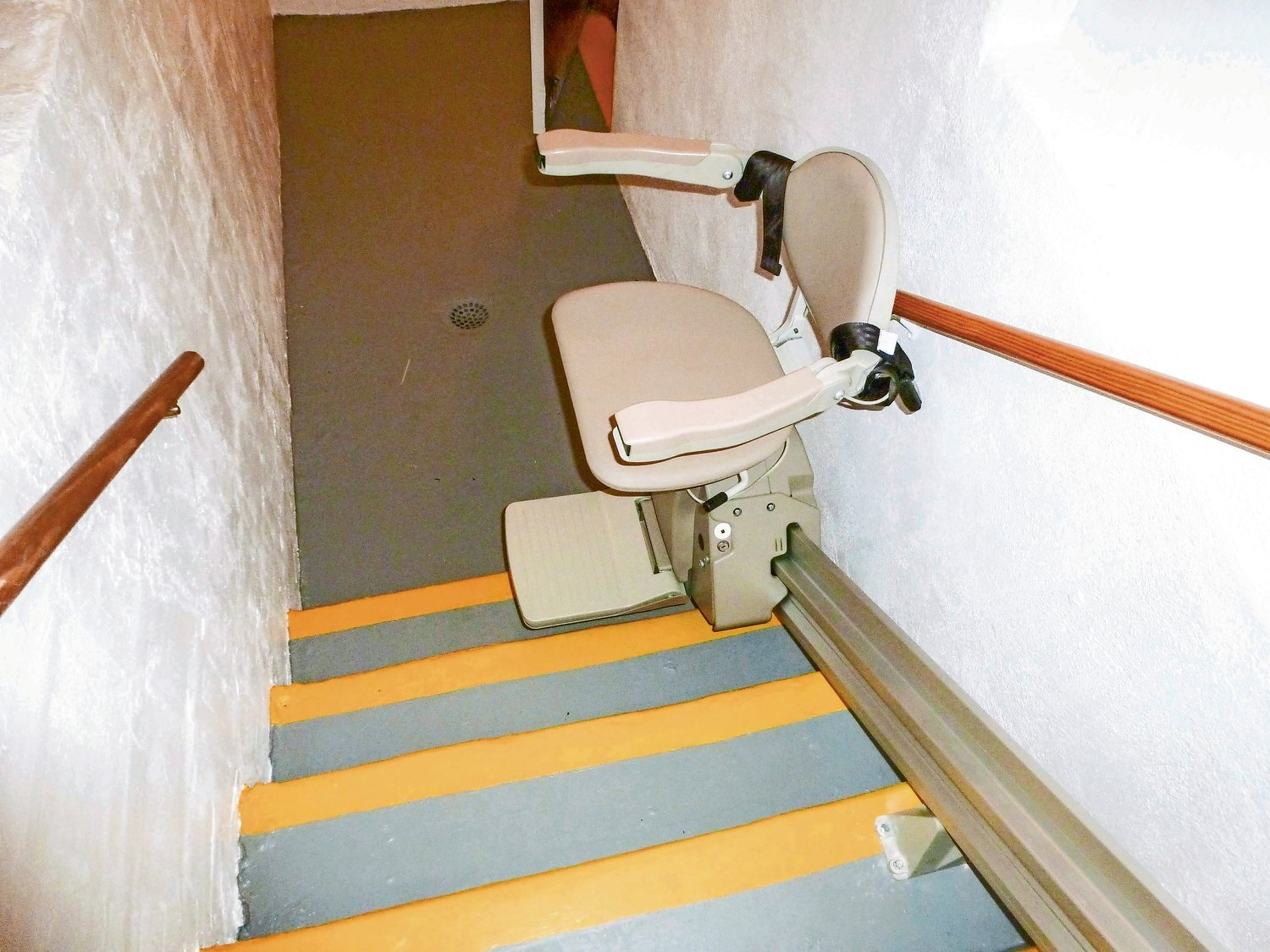 The stair lift was installed at Malverne American Legion Post 44 on Nov. 13.