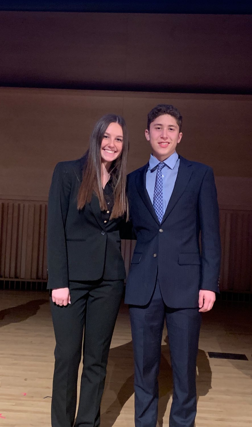 The 13th annual Adelphi University Apprentice Challenge was won by Hewlett High School seniors Anna Bromfeld and Brandon Lake.