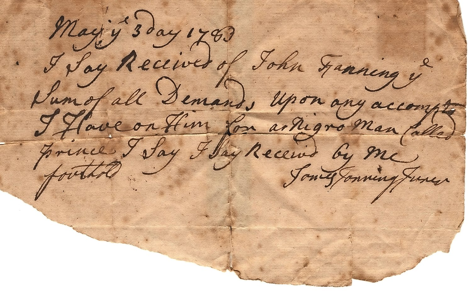 A receipt for the sale of a slave on Long Island in 1783