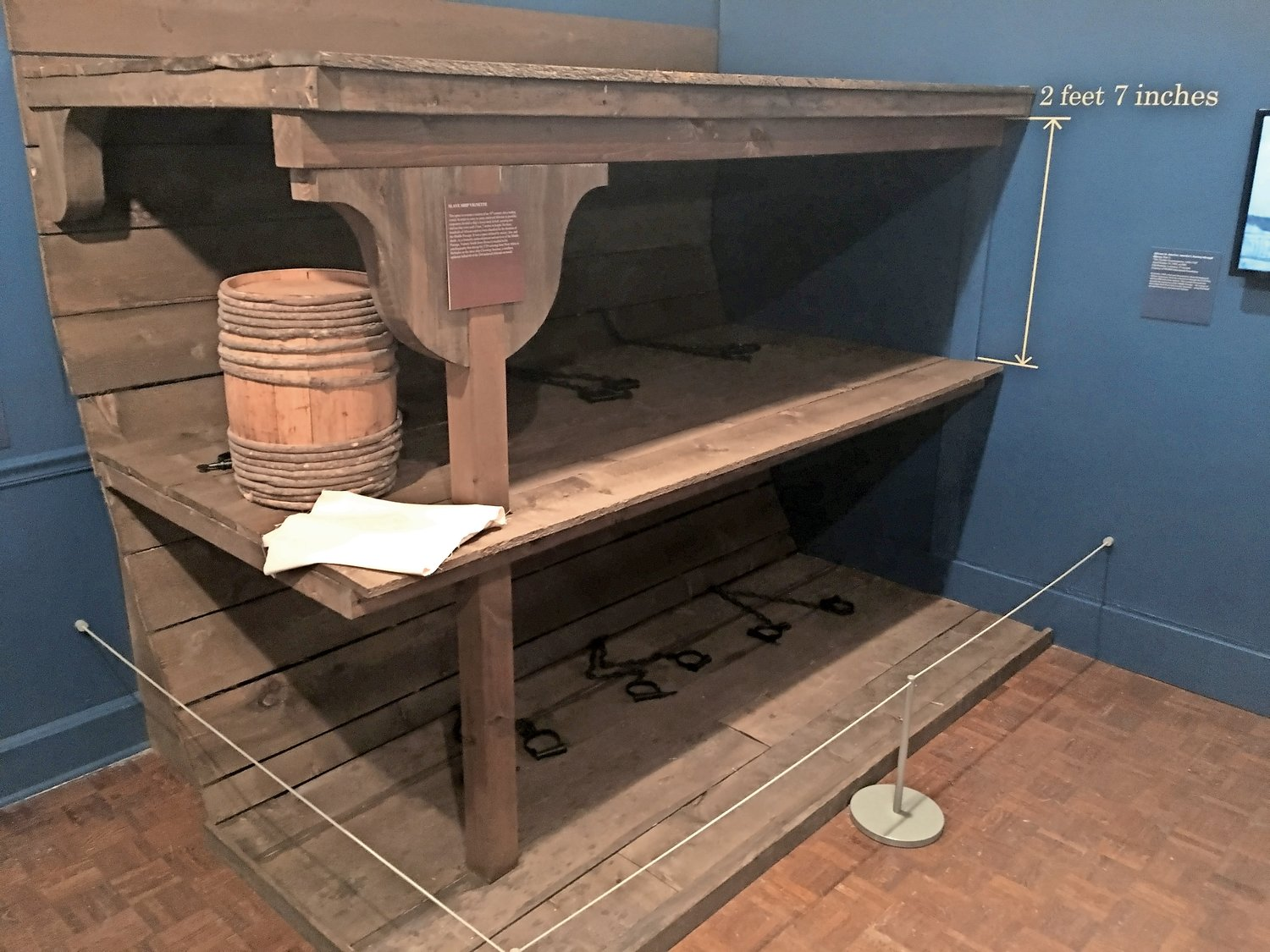 Slaves' sleeping quarters on display at the Stony Brook Museum. Bunks were spaced 2 feet, 7 inches apart.