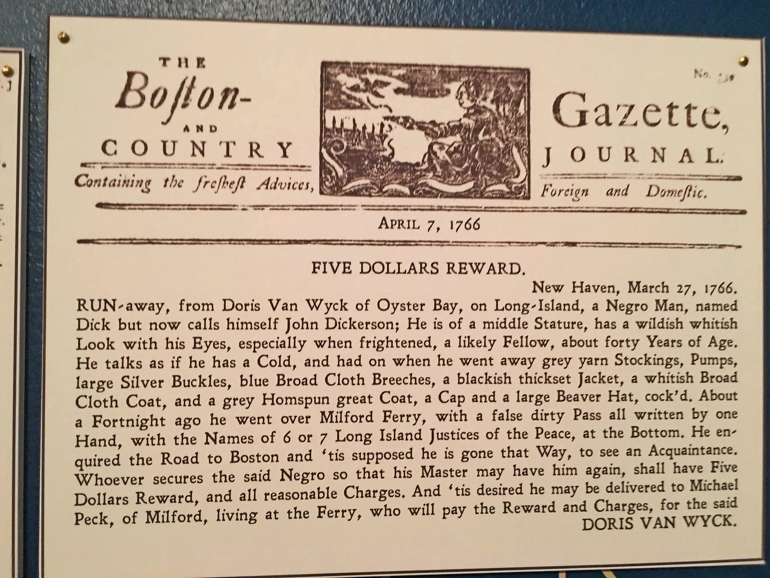 An advertisement about a runaway slave from Oyster Bay that offered a $5 reward for his return.