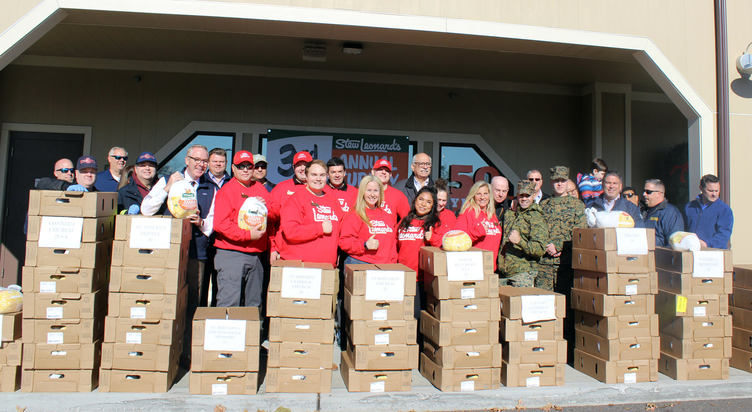 "Stew Leonard's, in East Meadow, kicked off its third annual ""Turkey Brigade"" as part of a celebration of the company's 40th year of giving turkeys to charities in the communities surrounding its supermarkets."
