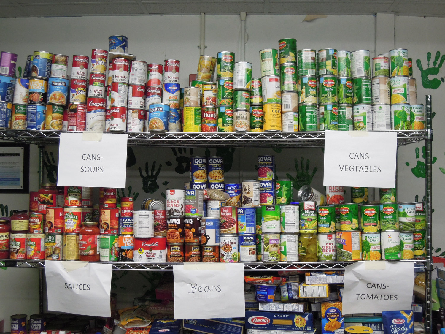 Various kinds of canned food and pasta were part of the donations, alongside more traditional Thanksgiving fare.