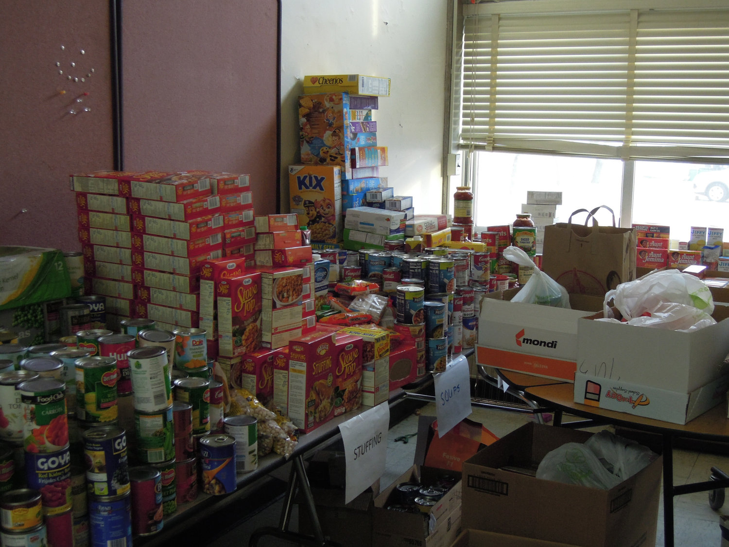 Some of the items that filled the large pantry behind Seaford High School's kitchen.