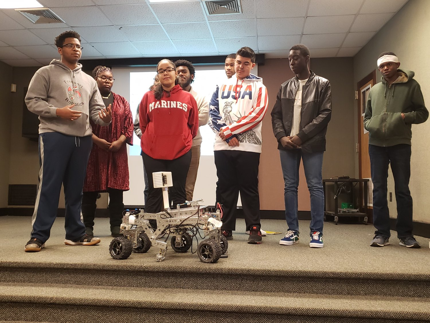 The Freeport Robotics Club presented its prototype of a miniature Mars Rover.