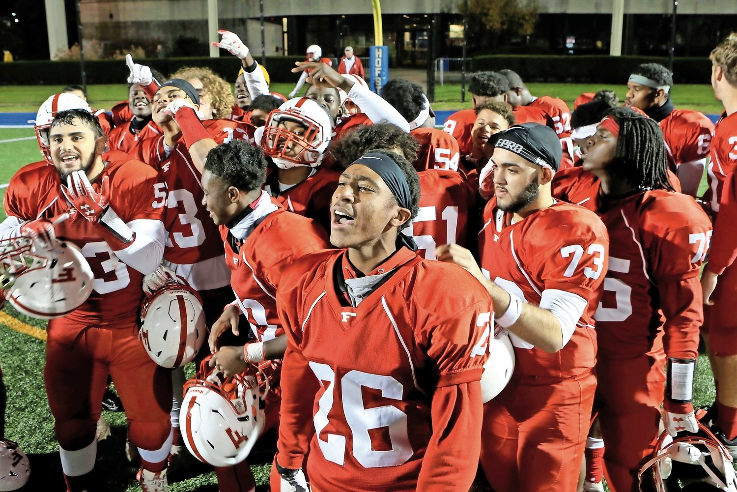 Freeport celebrated its second straight Nassau Conference I football championship after defeating Farmingdale, 30-7, in the title game at Hofstra on Nov. 21.