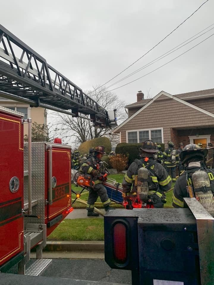 Five local volunteer fire departments helped to extinguish a house fire at 78 Meadow Road in Inwood on Dec. 1.
